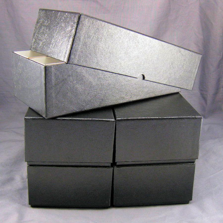 5 black double row cardboard coin slab storage boxes for for Money storage box