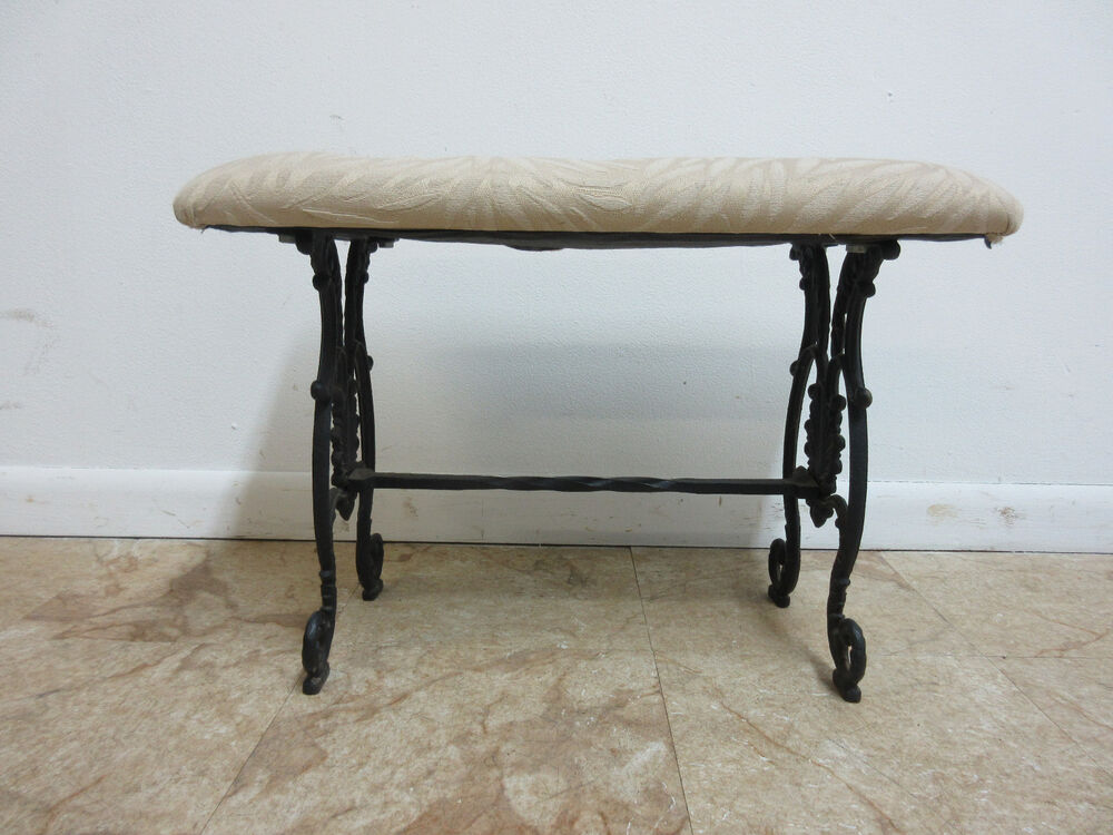 Antique victorian cast iron fireside window bench ottoman stool vanity seat ebay - Antique vanity stools ...