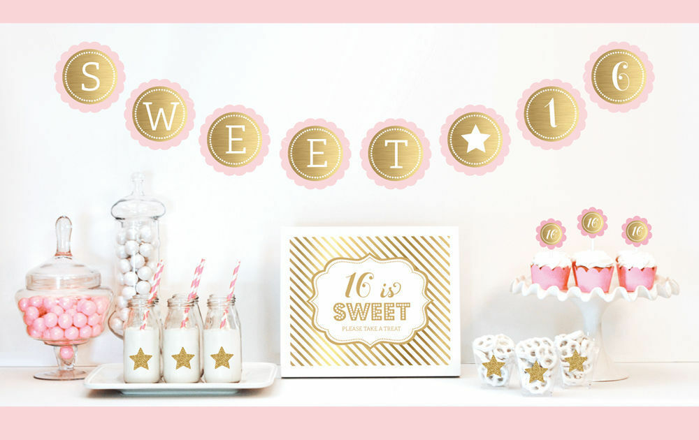 Gold and glitter sweet 16 decorations kit birthday party for 16 birthday decoration