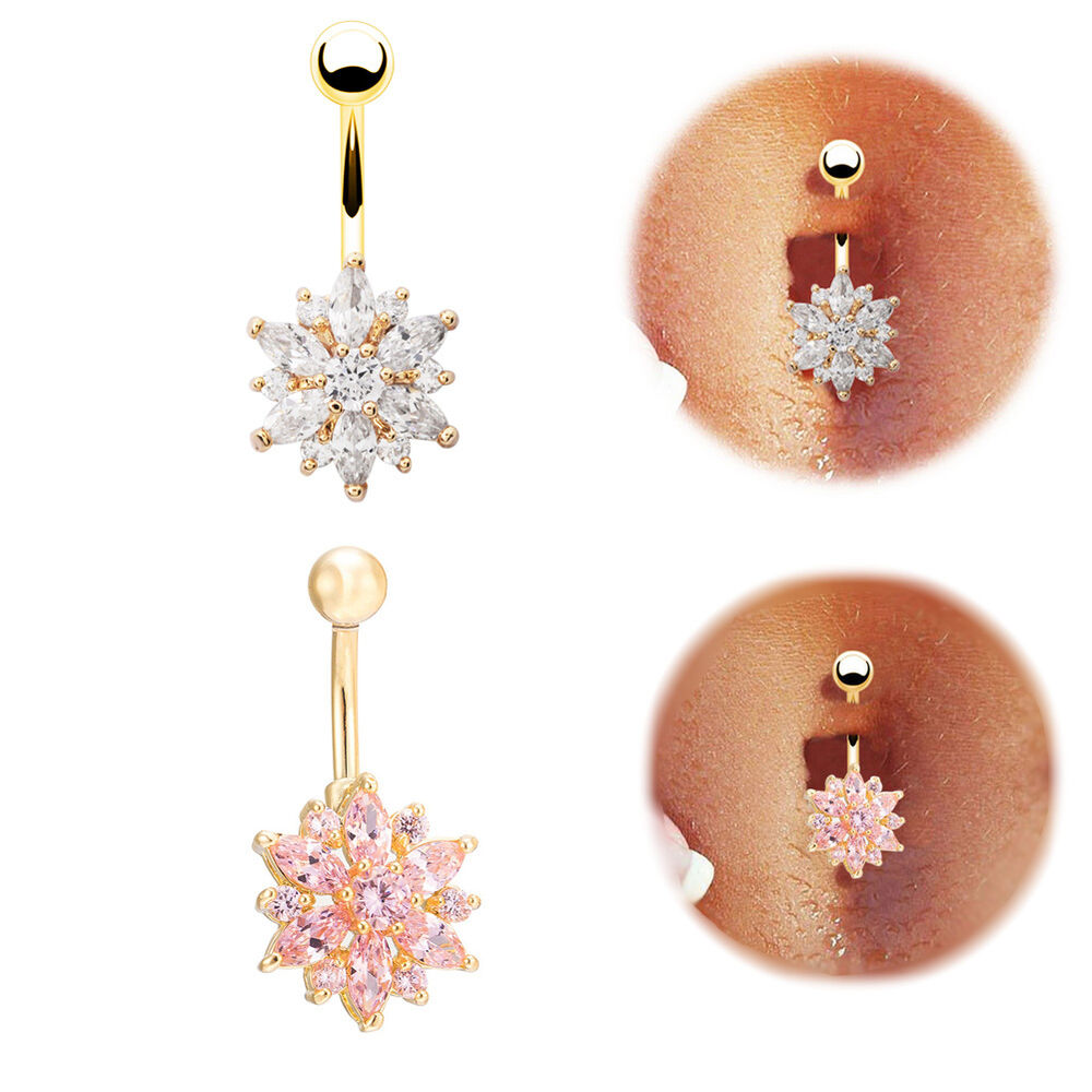 belly button rings crystal rhinestone flower jewelry navel
