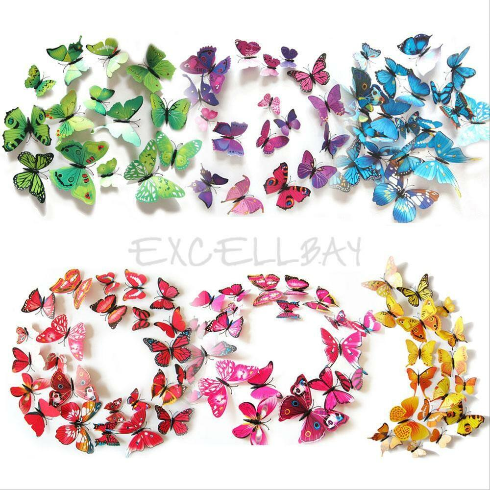 12pcs set magnet 3d butterfly art wall stickers home for Butterfly wall mural stickers