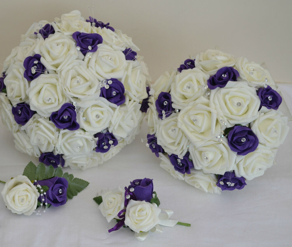 Pretty wedding bouquet posy diamante spray flowers for Flower sprays for weddings