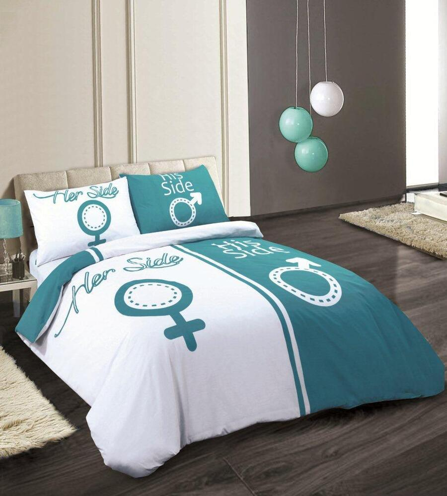Trendy New Teal White His And Hers Side Duvet Cover Bed