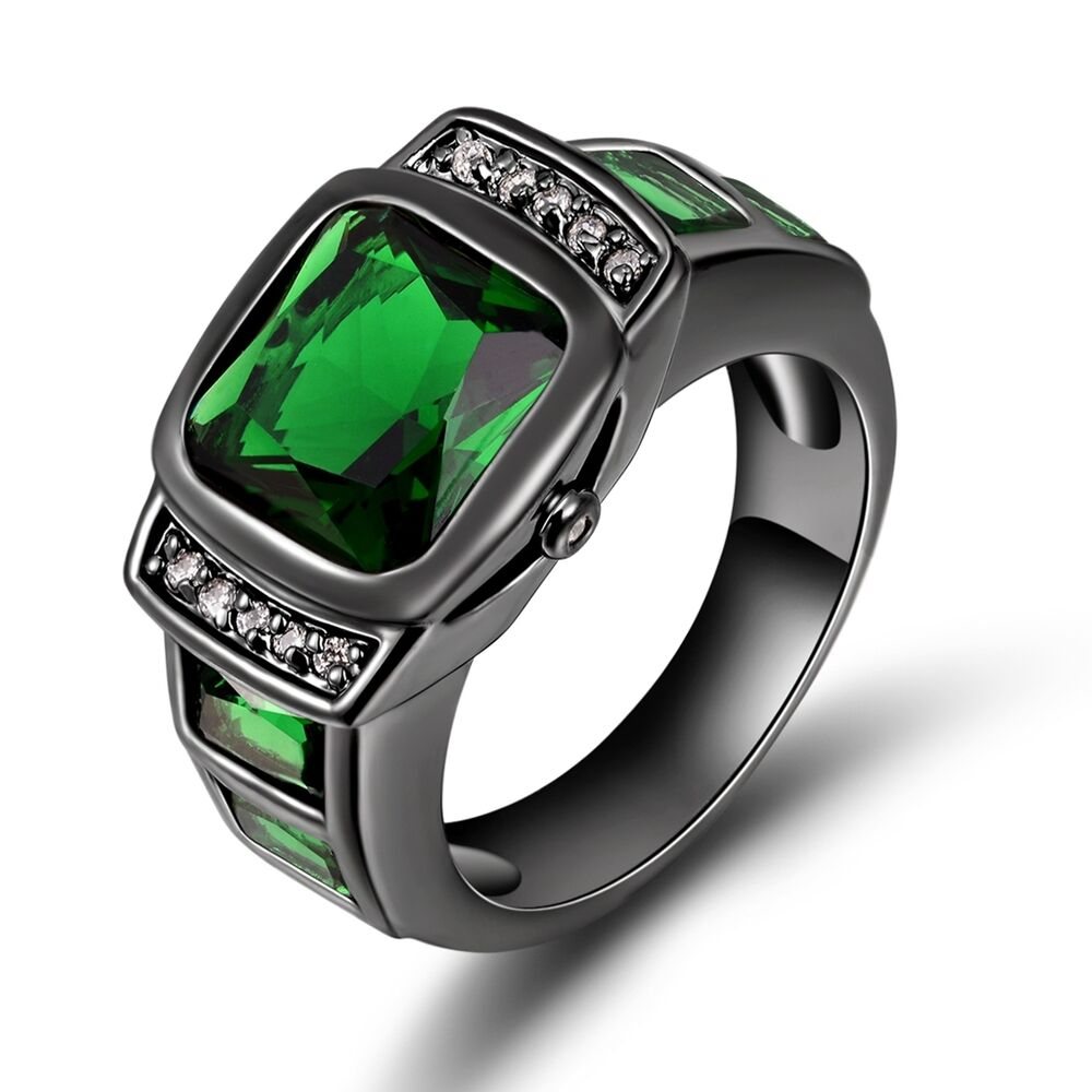 Emerald Rings For Men Fashion Size 7,...