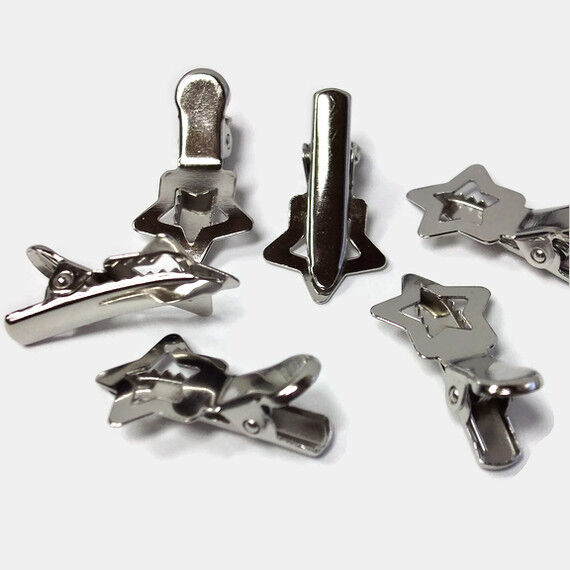 50 small star shape cutout alligator pinch metal silver for Small alligator clips for crafts