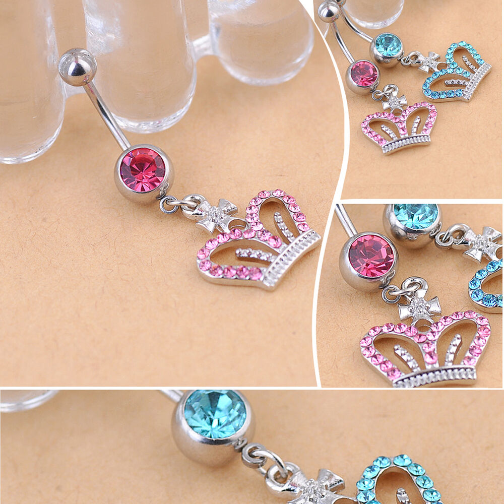 piercing jewelry crown rhinestone piercing jewelry navel 6671