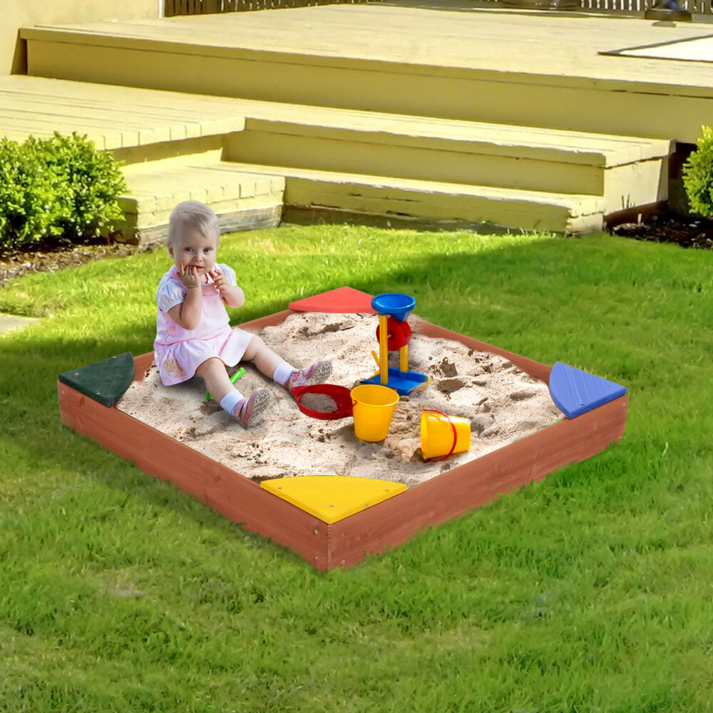 Qaba Wooden Kids Children Play Sandbox with Cover 4 Seats