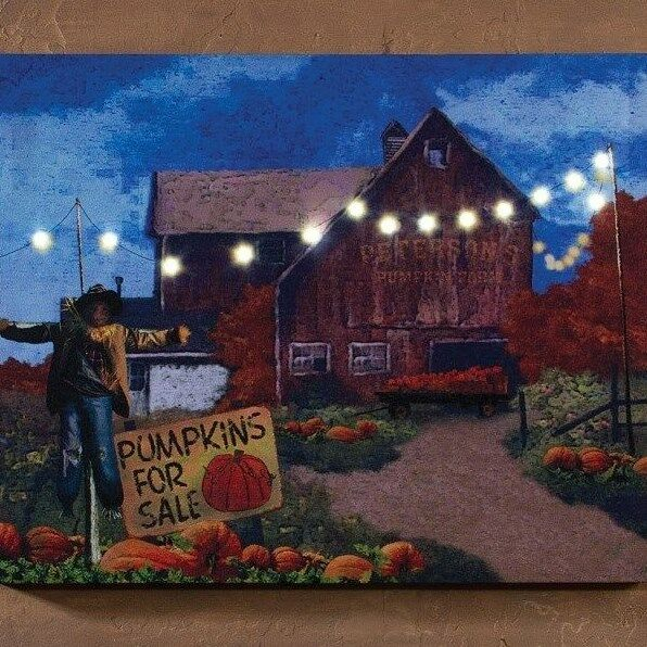 Harvest Barn Pumpkins Scarecrow Lighted Picture Radiance