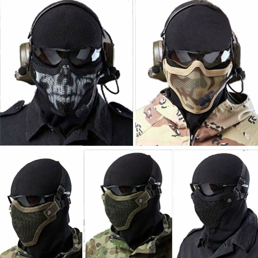 【New Tactical Half Face Metal Steel Net Mesh Mask Hunting Protective Guard D Nylon Mask Cover for Airsoft Paintball 12 Color. New Tactical Half Face Metal Steel Net Mesh Mask Hunting Protective Guard D Nylon Mask Cover for Airsoft Paintball 12 Color.