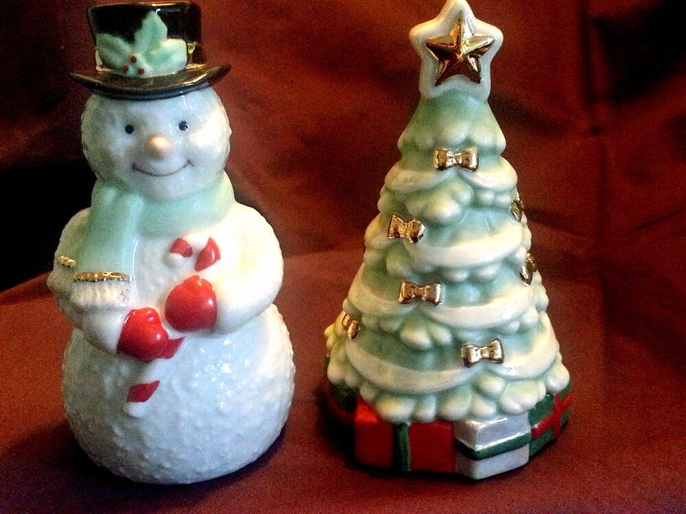 Lenox Snowman and Christmas Tree Salt and Pepper Shakers NEW IN BOX   eBay