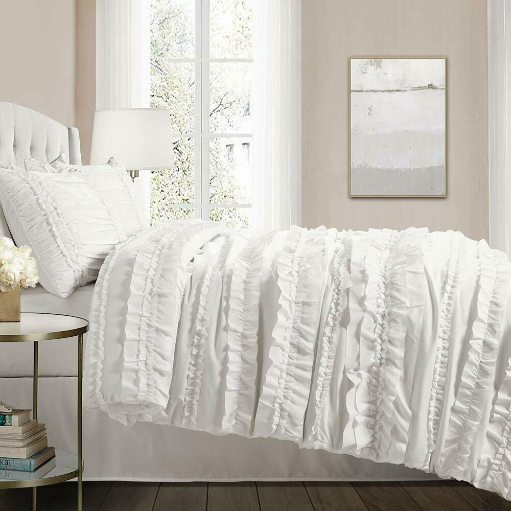 chic ruffles white queen comforter set country cottage ruffled bedding ebay. Black Bedroom Furniture Sets. Home Design Ideas