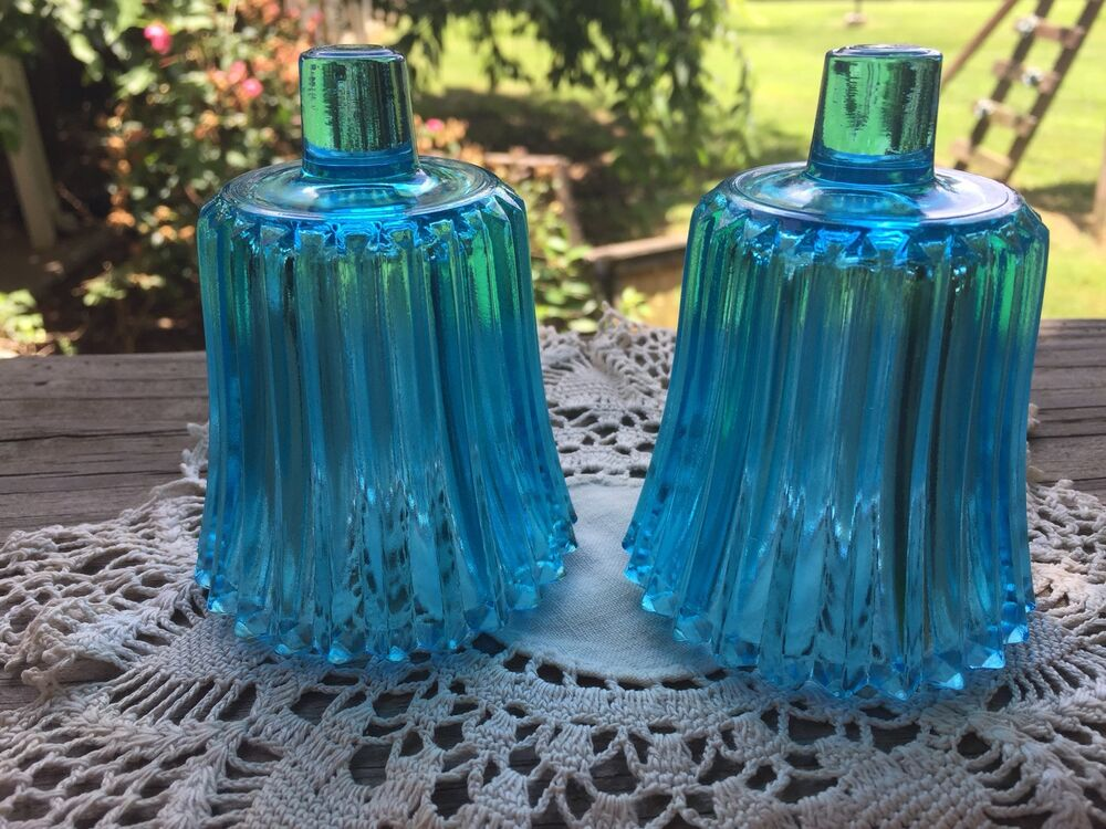 Pair Of Vintage Home Interior Homco Aqua Glass Votive Cups Candleholders Ebay