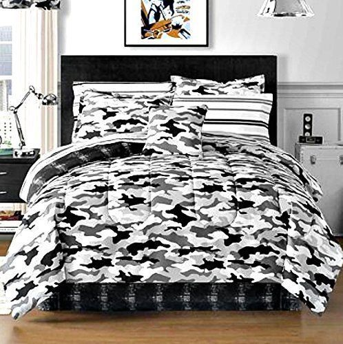 Black Gray Camouflage Camo Army Boys Queen Comforter Set