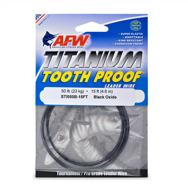 Afw tooth proof titanium leader single strand wire 50lb for American fishing wire