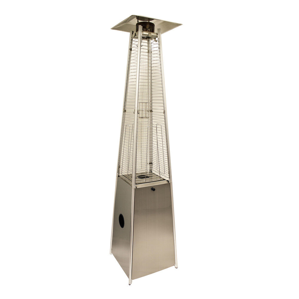Stainless Steel LP Gas Patio Heater Real Flame Pyramid