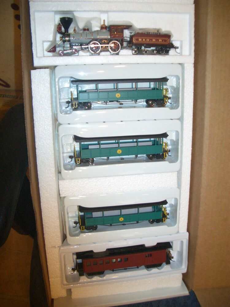 Ho bachmann 4 4 0 old time locomotive amp 4 cars baltimore amp ohio rr370