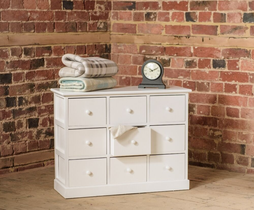 Small Wood Drawers ~ Small nine drawer white wooden storage chest of drawers