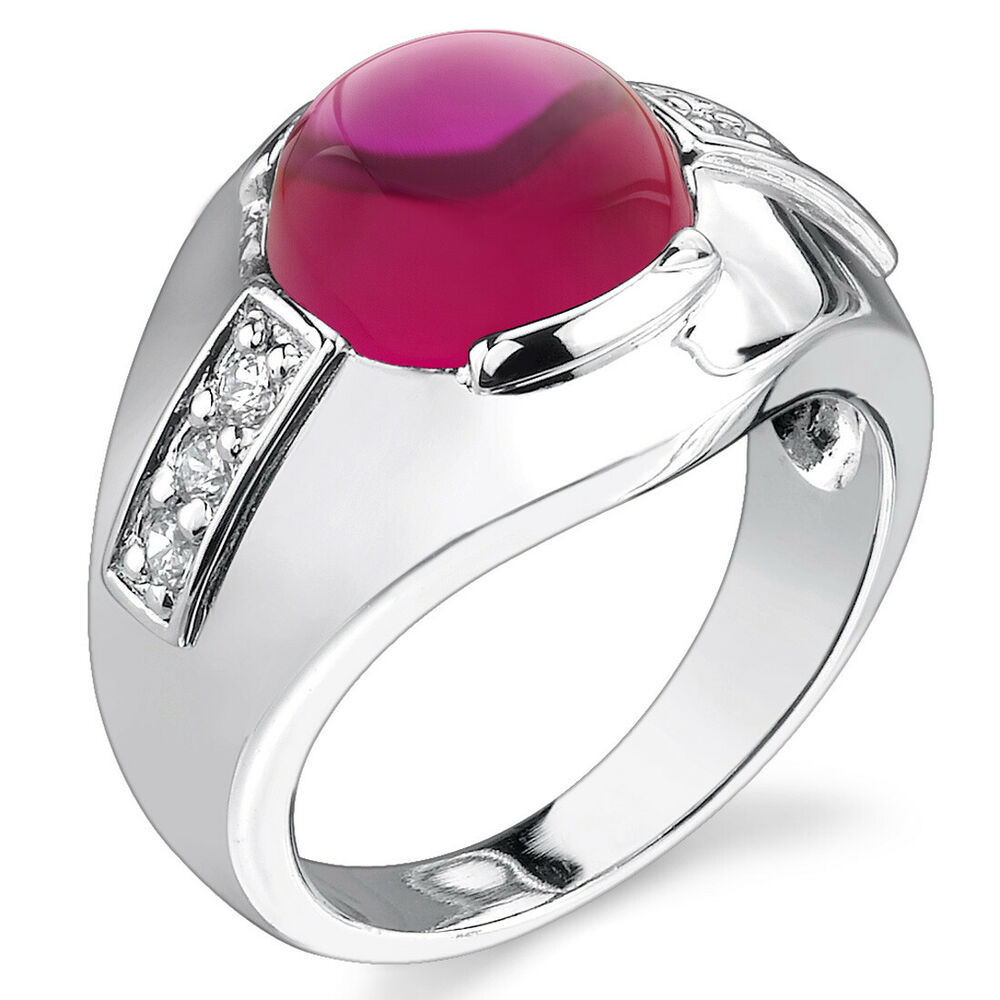 Ruby Wedding Gifts For Men: Mens 7.00 Cts Round Cabochon Ruby Ring In Sterling Silver