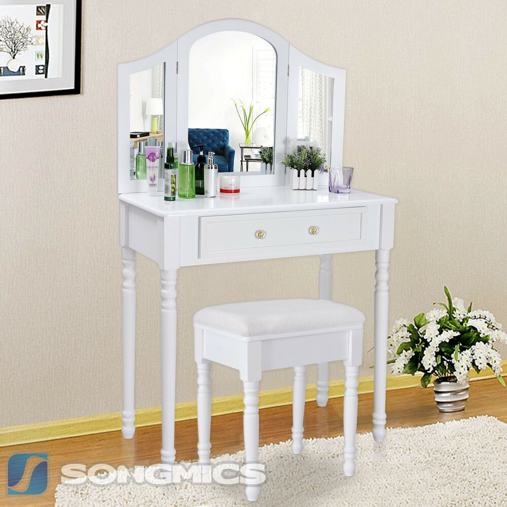 schminktisch mit hocker spiegel frisierkommode frisiertisch kosmetiktisch rdt33w ebay. Black Bedroom Furniture Sets. Home Design Ideas