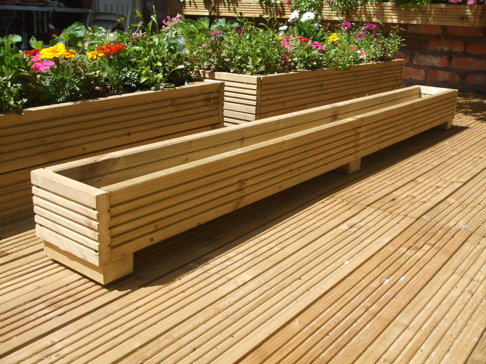 6ft long wooden decking planter trough window box 183cm x - Wooden containers for flowers ...