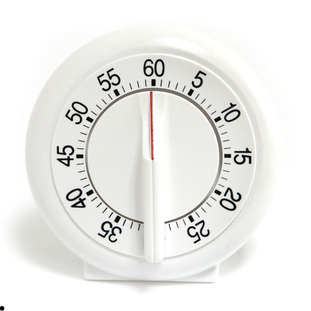 White Round Clock 60 Minutes Mechanical Clockwork Timer ...