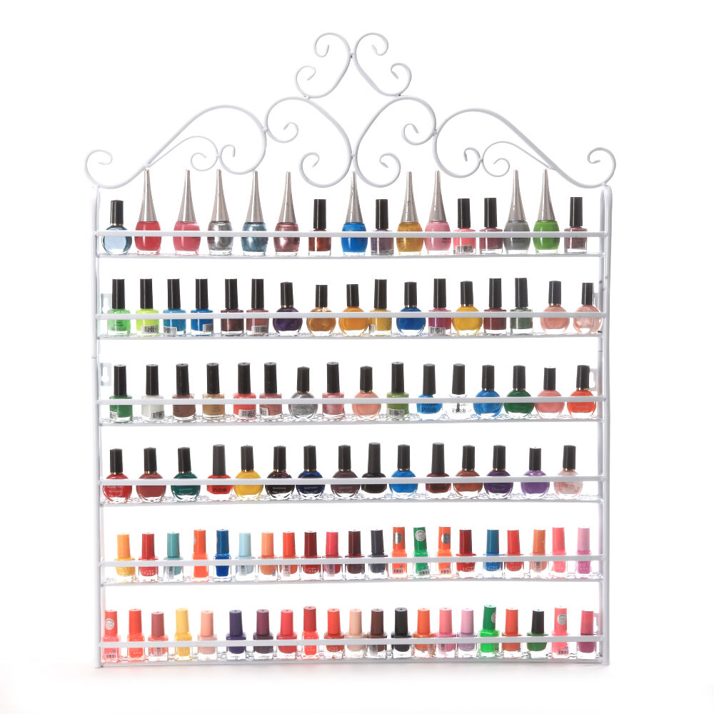 6 TIER White Nail Polish Display Wall Rack Metal Organizer