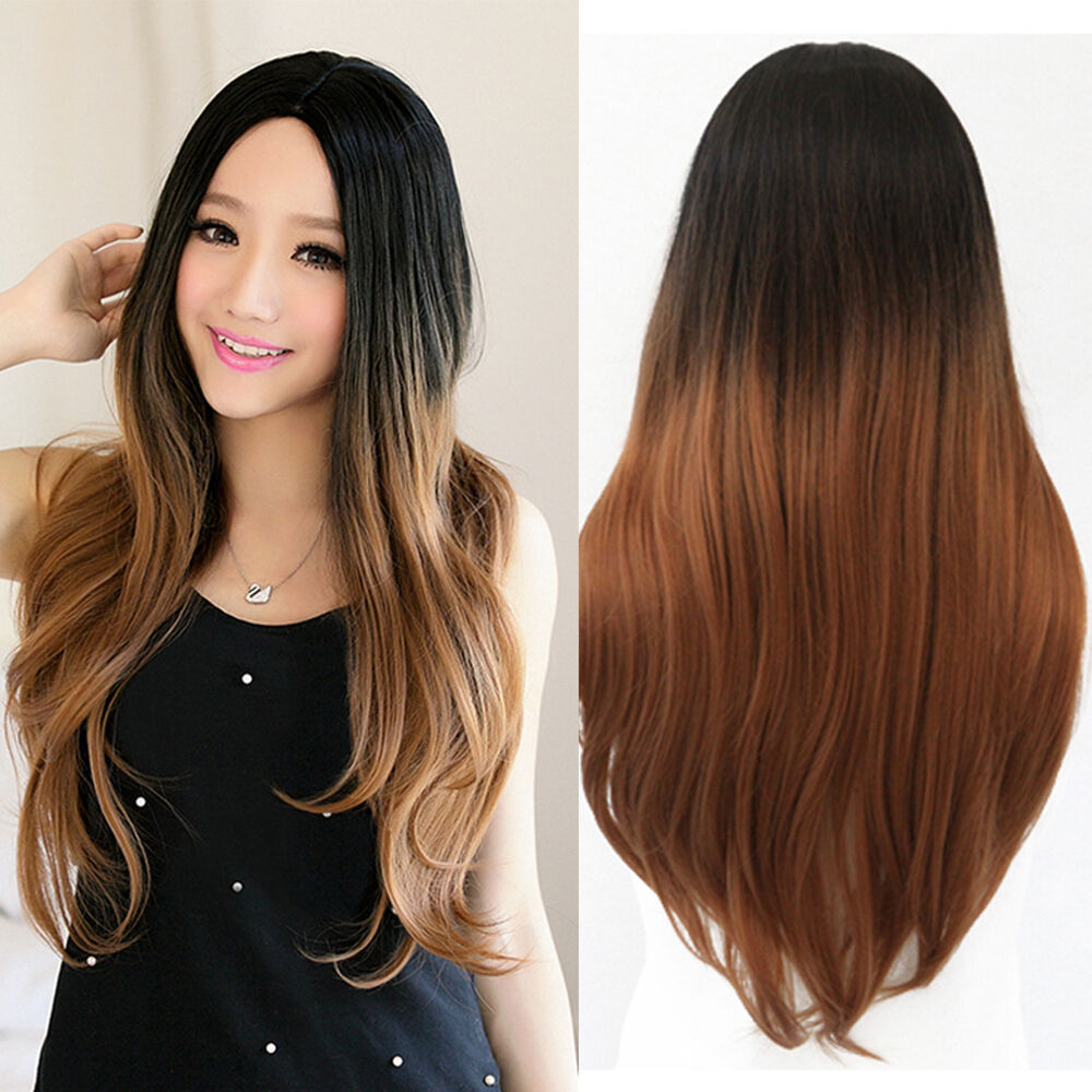Brown Gradient Wig Long Wavy Straight Hair Cosplay Costume Part Bang Full Wigs | eBay