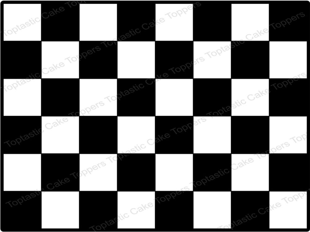 Black White Checkered Flag Check Pattern Background Icing Cake
