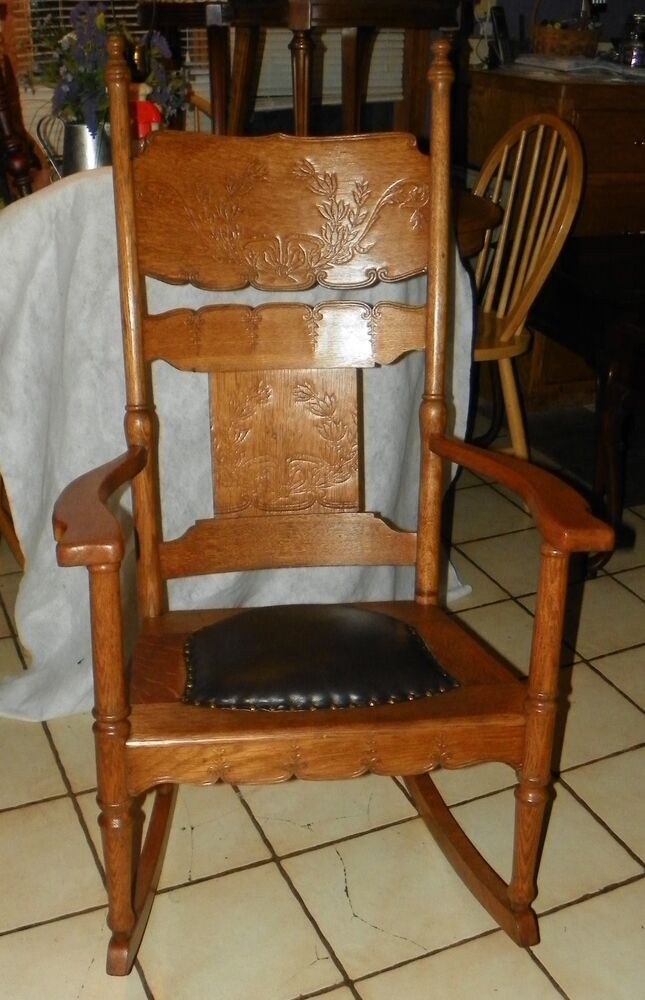 Quartersawn Oak Carved Rocker Rocking Chair with brown