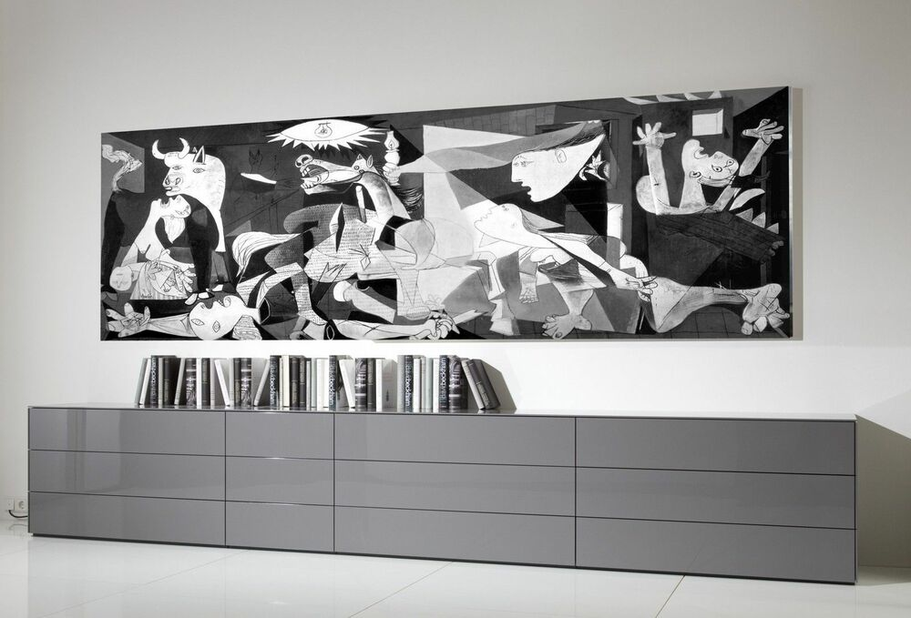 xxl panorama leinwand 140x50 guernica picasso bild schwarz weiss gem lde ikea ebay. Black Bedroom Furniture Sets. Home Design Ideas