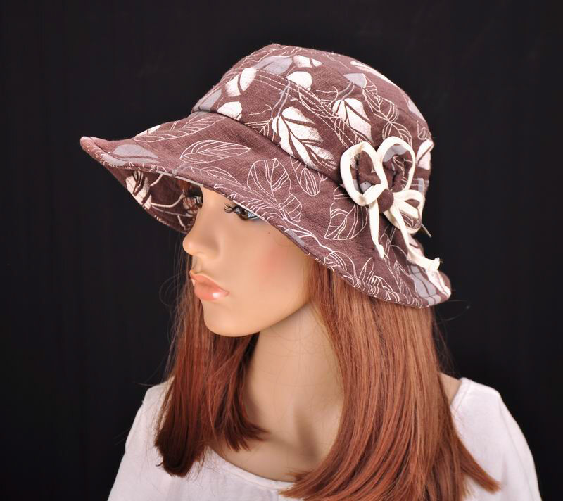 m197 brown cute floral cotton sun hat wide brim cap bucket