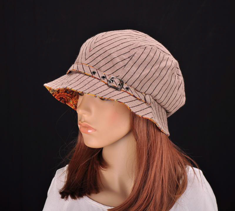 m195 brown cute stripe cotton sun hat brim cap bucket
