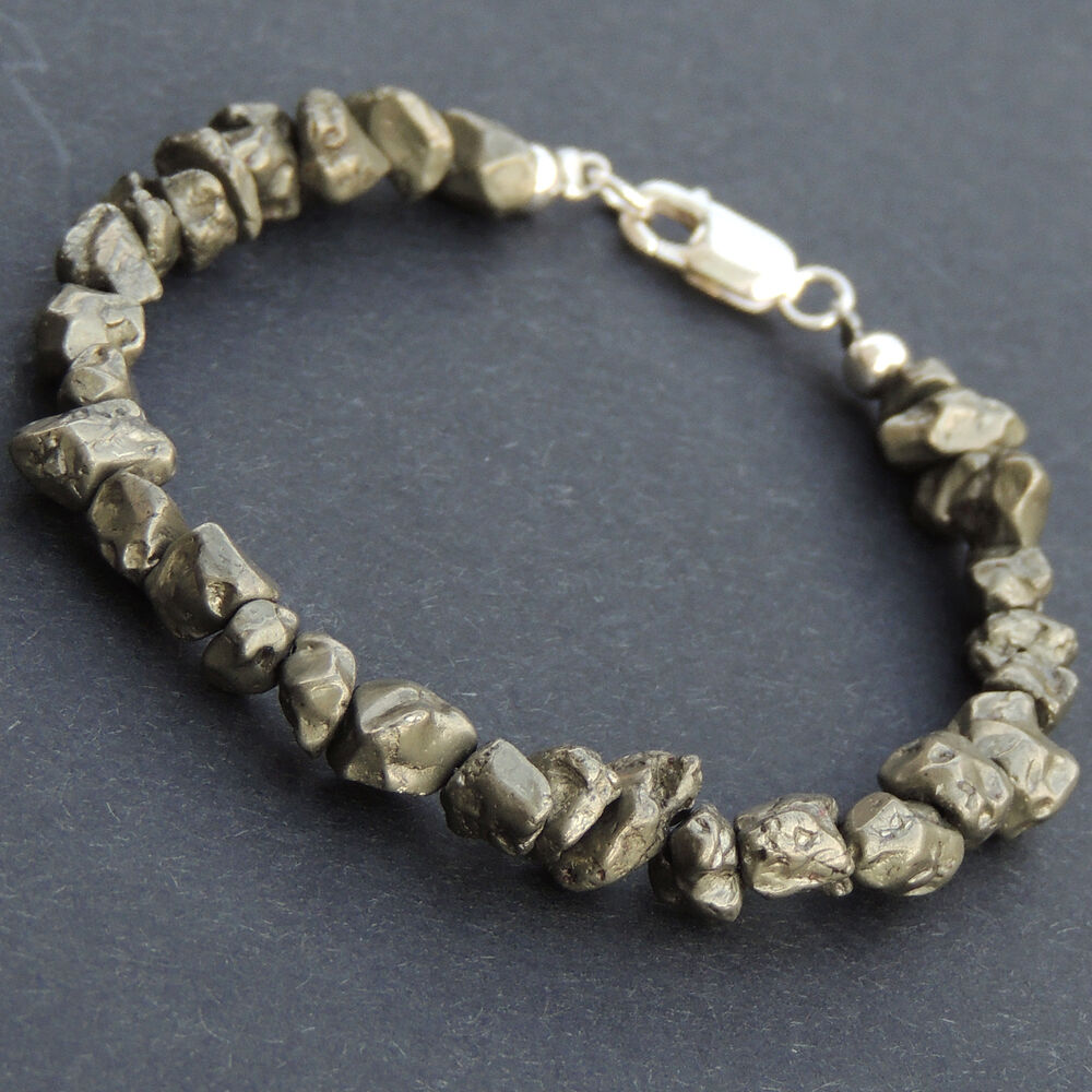 Gold Jewelry Bracelets: Natural Gold Pyrite Nugget Sterling Silver Bracelet Mens