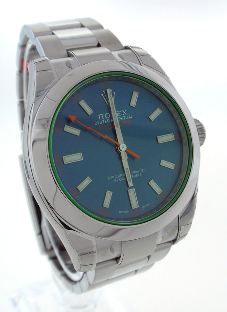 Rolex blue milgauss green crystal mens watch 116400v 40mm 717449266255 ebay for Watches 40mm