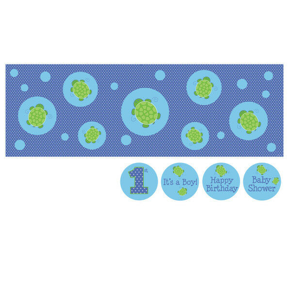 Mr turtle giant party banner wall mural birthday or for Baby shower wall mural