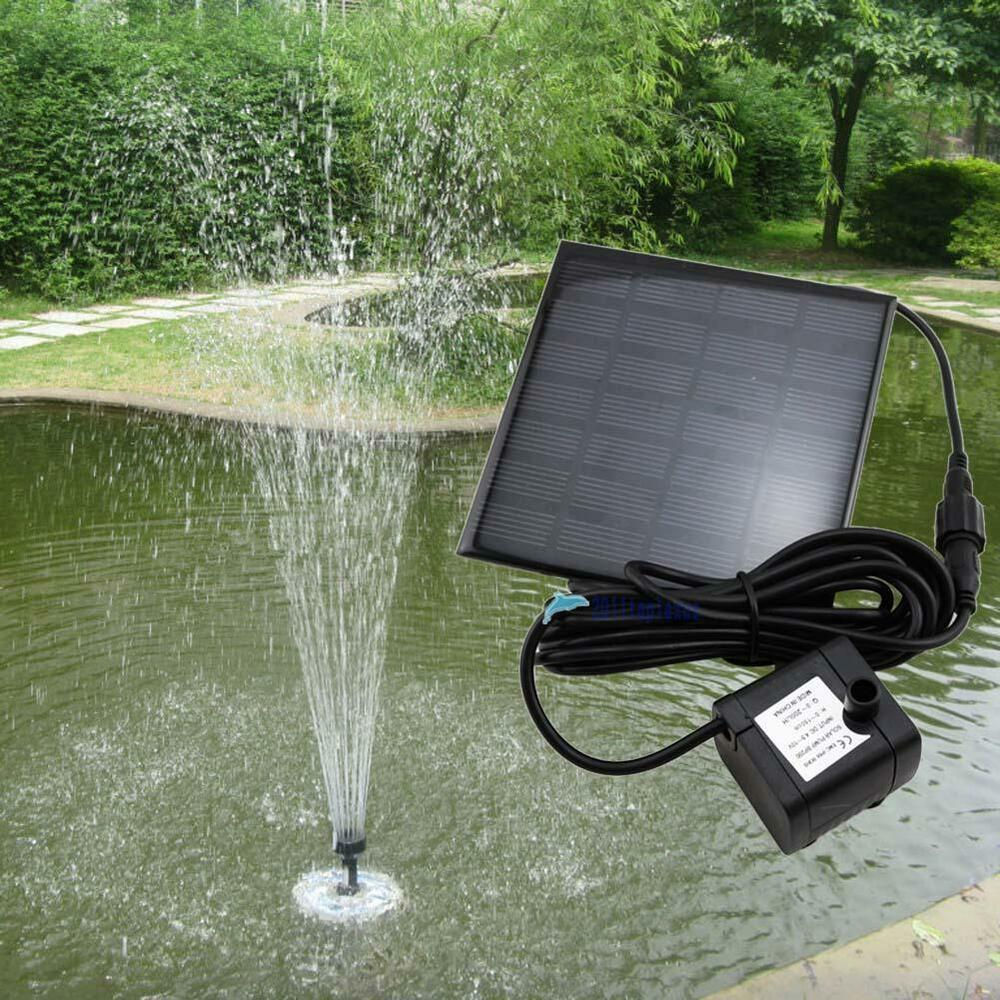Solar water pump power panel kit fountain pool garden pond for Garden pool pumps