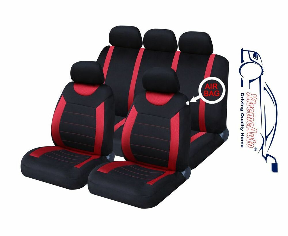 9 pce sports carnaby red black full set of car seat covers fiat panda bravo pun ebay. Black Bedroom Furniture Sets. Home Design Ideas