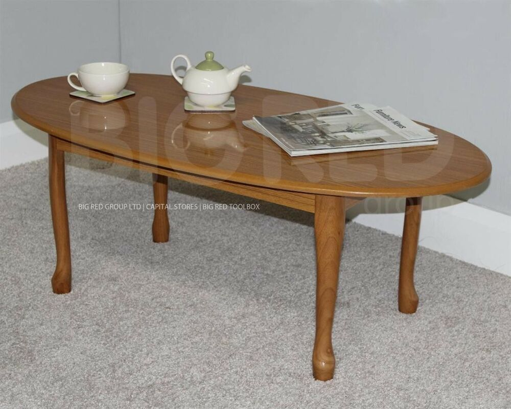 Traditional Queen Anne Round Oval Lounge Coffee Table Golden Oak Wood Finish Ebay