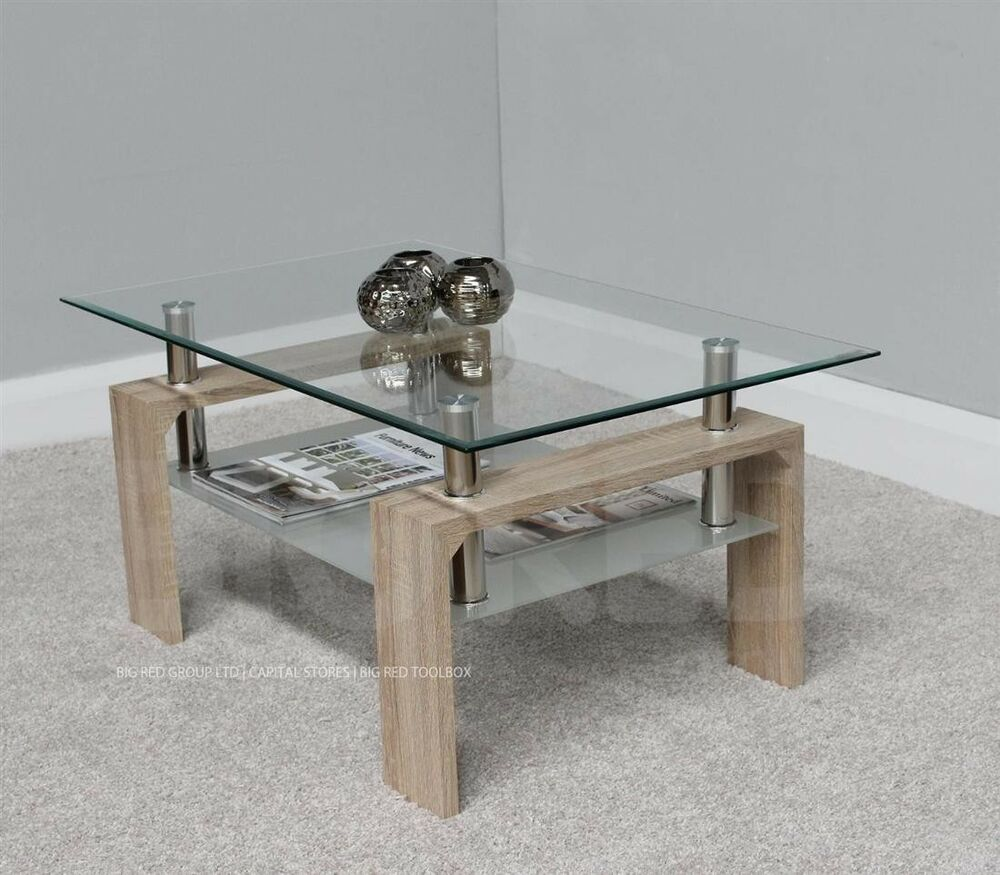 Rectangle coffee table with clear glass top chrome natural finish ebay Clear coffee table