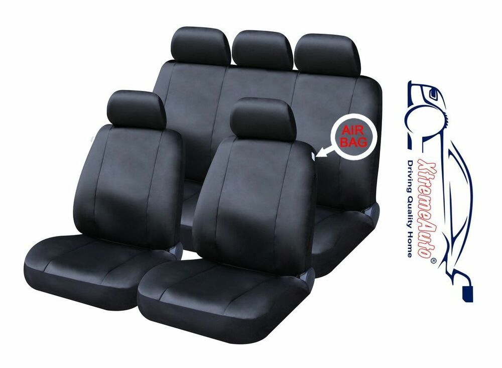 9 PCE Full Set Of Black Leather Look Seat Covers For