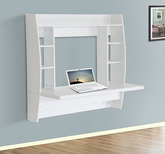 HomCom Floating Wall Mount Office Computer Desk Storage White | eBay