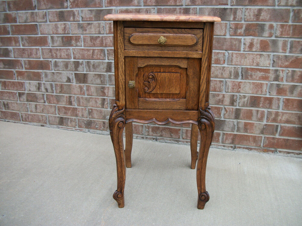 Quartersawn Oak French Carved Marble Top Nightstand Bm