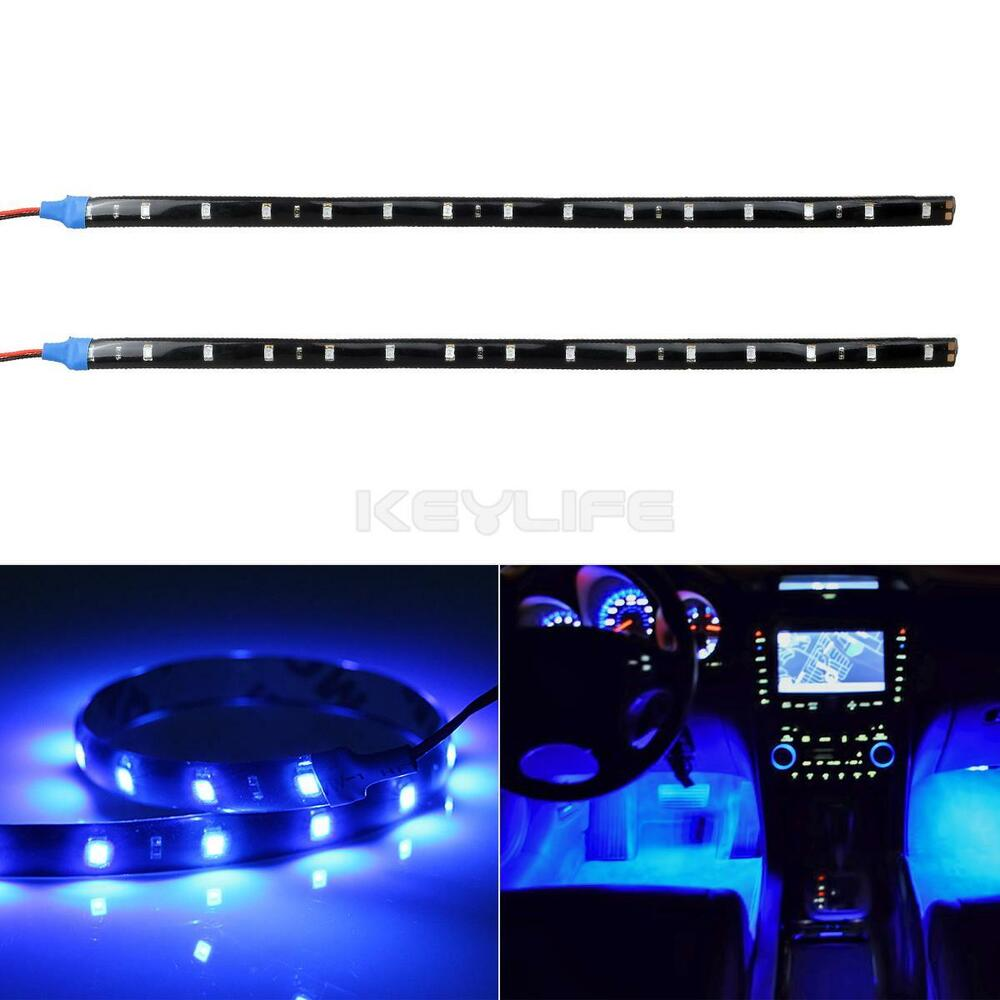 2x 12 flexible 15smd led strip car interior underdash footwell light ultra blue ebay. Black Bedroom Furniture Sets. Home Design Ideas
