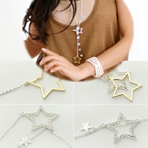 Fashion Womens Silver Gold Crystal Rhinestone Stars ...