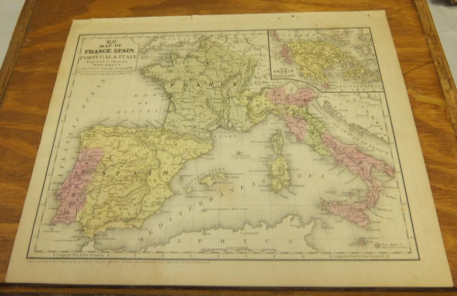 Map Of Spain Portugal And France.1846 Antique Color Mitchell Map France Spain Portugal Italy