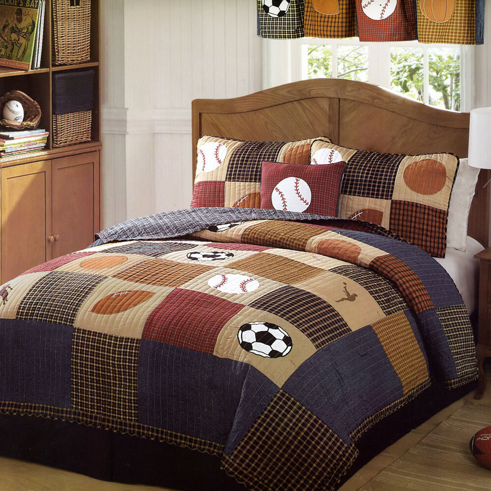 Classic Sports Full Queen Quilt Set Boys State Football Baseball Comforter Ebay