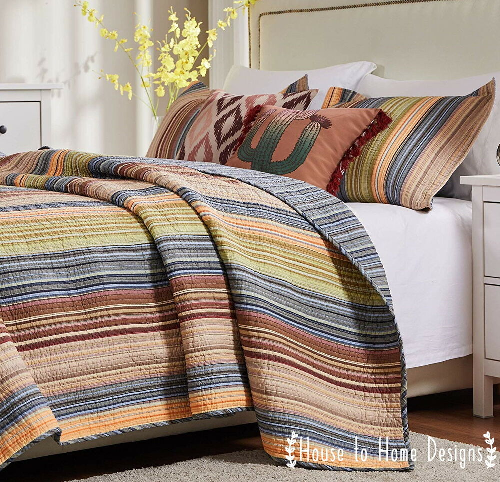 Rainbow Stripe Full Queen Quilt Set Country Stripes