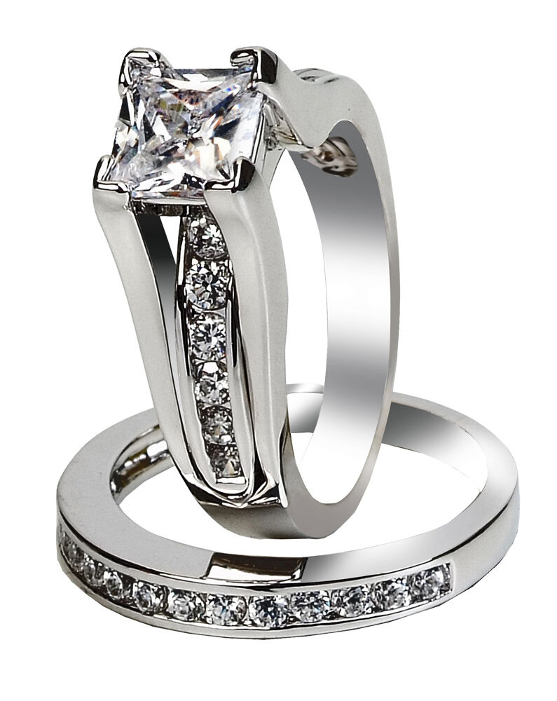 Womens Simulated Princess Sterling Silver Wedding
