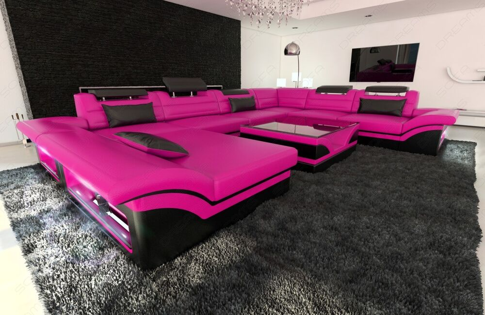 leather sectional sofa enzo xxl pink black ebay. Black Bedroom Furniture Sets. Home Design Ideas