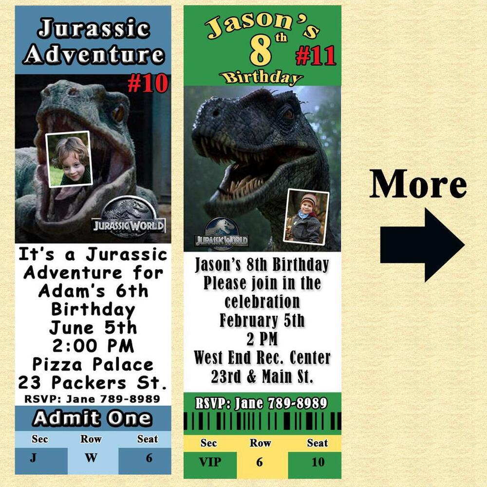 Details About Jurassic World Park Birthday Invitation Or Thank You Card Personalize